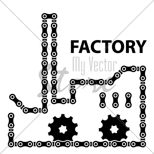vector factory industry chain sprocket silhouette
