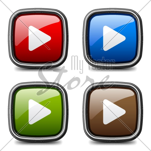 vector glossy media play buttons