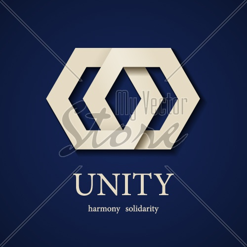 vector unity paper icon design template