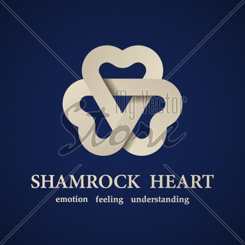 vector abstract shamrock heart symbol