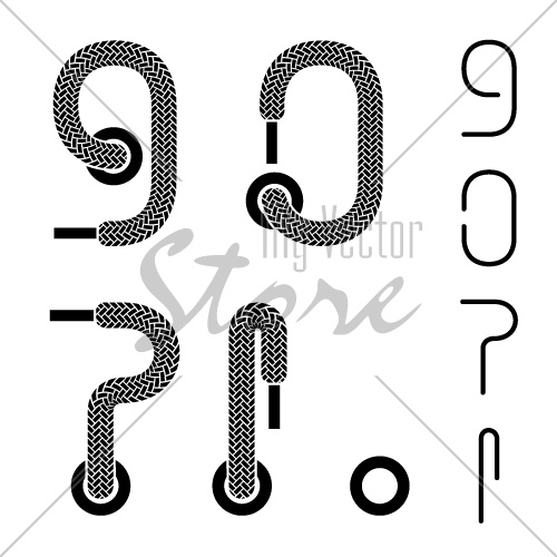 vector shoe lace number 9 0 question exclamation dot mark