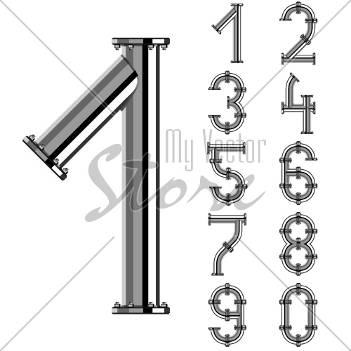 vector chrome pipe alphabet numbers