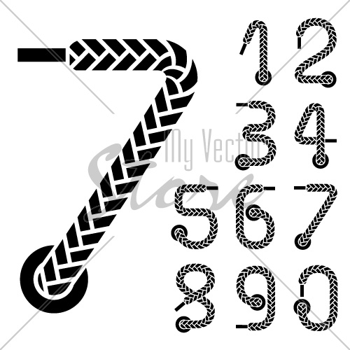 vector black shoe lace numbers