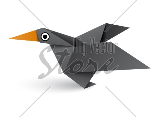 vector origami paper black bird