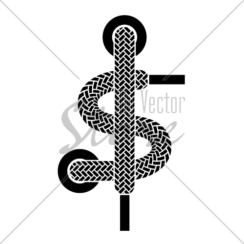 vector shoe lace american dollar symbol
