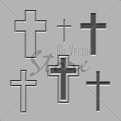 vector stone carved christian crosses
