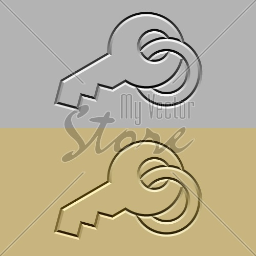 vector stone carved key symbol