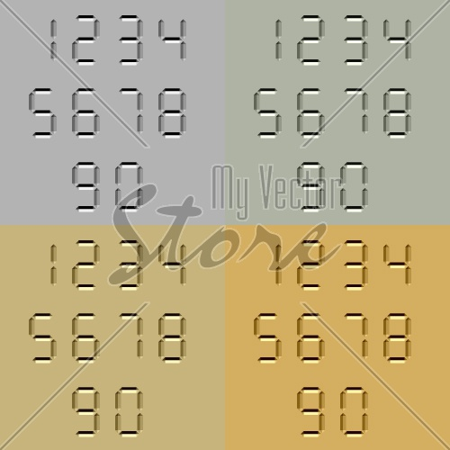 vector stone carved digital numbers