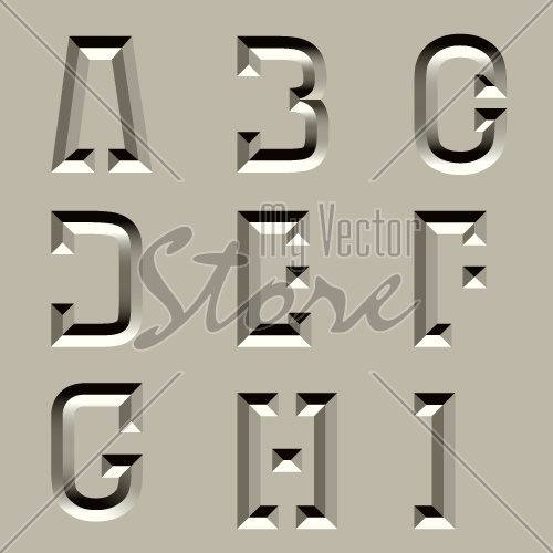 vector stone carved alphabet font - part 1