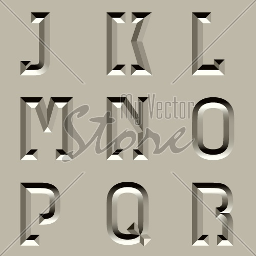 vector stone carved alphabet font - part 2