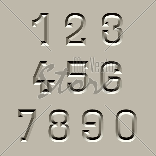 vector stone carved font numbers