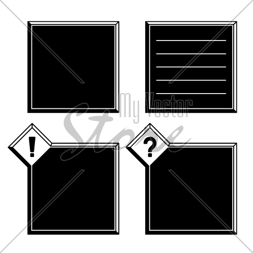 vector 3d black white frames exclamation question mark