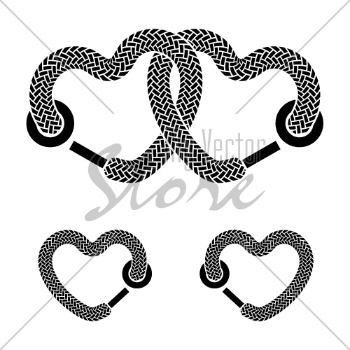 vector shoelace linked hearts black white symbols