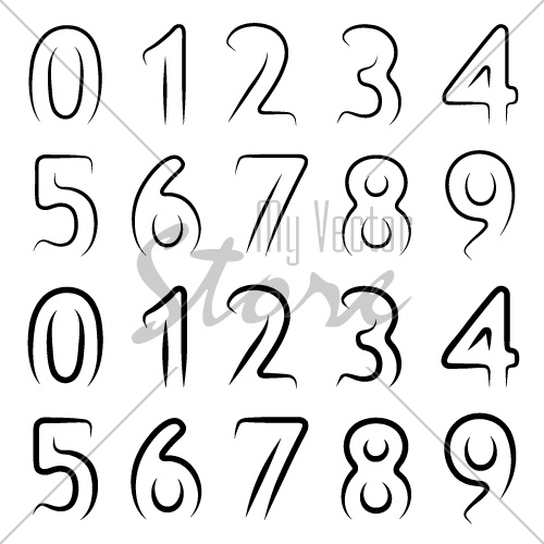 vector minimal contour numbers font