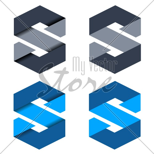 vector abstract paper letter S symbols