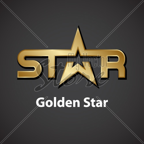 vector golden star inscription icon