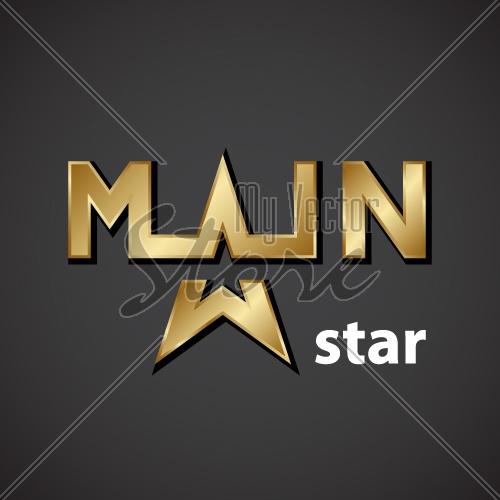 vector main golden star inscription icon