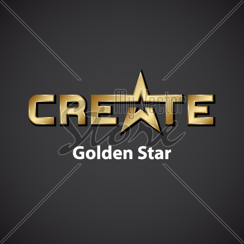 vector create golden star inscription icon