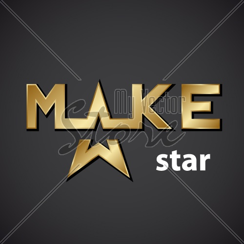 vector make golden star inscription icon