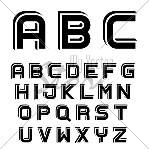 vector 3D black simple font alphabet letters