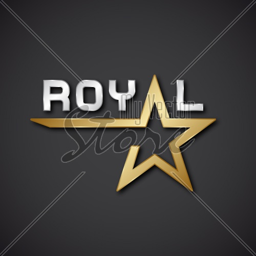 EPS10 vector royal golden star inscription icon