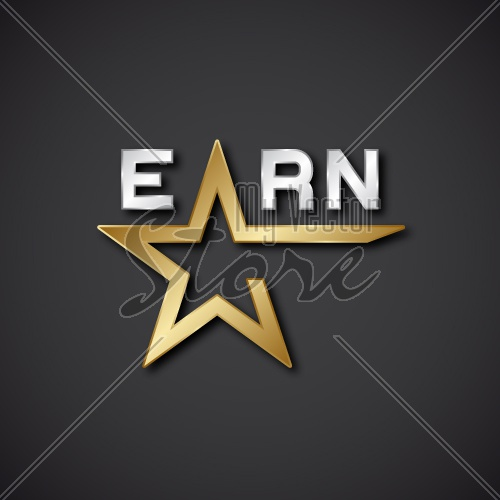 EPS10 vector earn golden star inscription icon