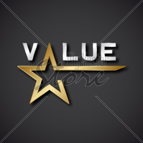 EPS10 vector value golden star inscription icon