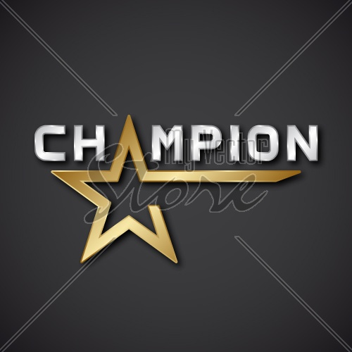 EPS10 vector champion golden star inscription icon