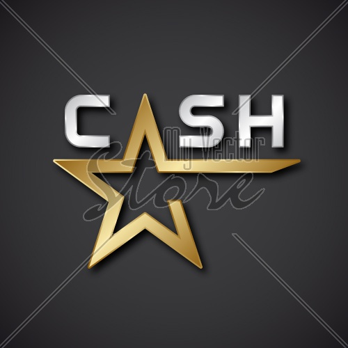EPS10 vector cash golden star inscription icon