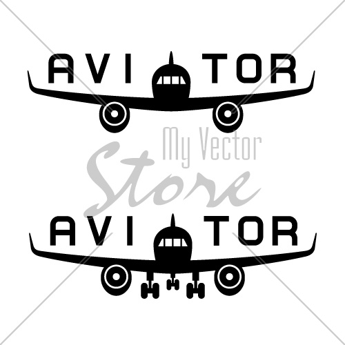 vector aircraft aviator inscription black icon