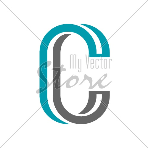 vector twisted letter C icon