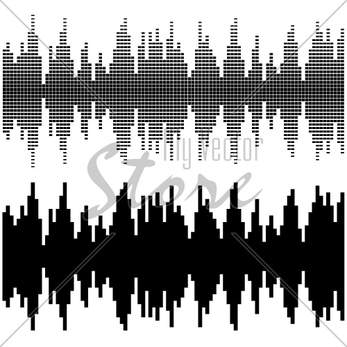 vector black square sound wave patterns