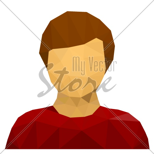 vector triangular male user avatar icon