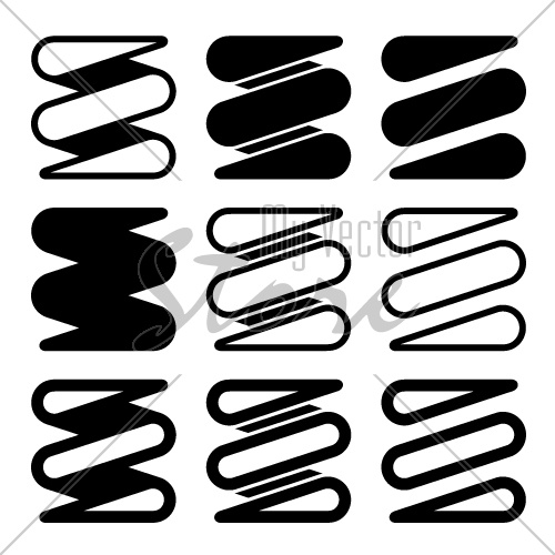 vector tension spring black icons