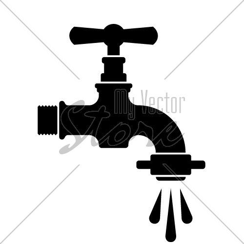 vector black retro water faucet tap symbol