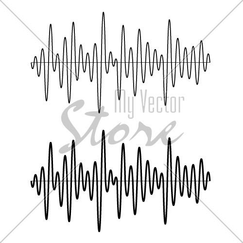 vector black seamless sinusoidal sound wave lines