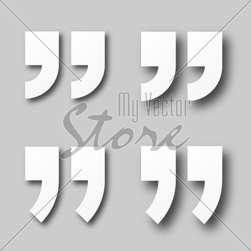 EPS10 vector blank white paper quotation marks