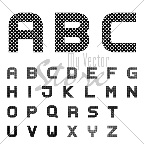 vector black checkered font alphabet letters