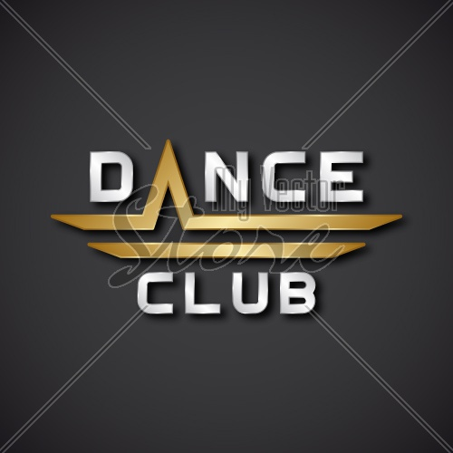 EPS10 vector dance club text icon