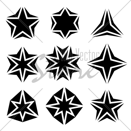 vector black star symbols
