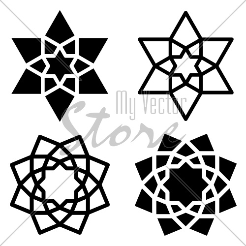 vector black star flower symbols