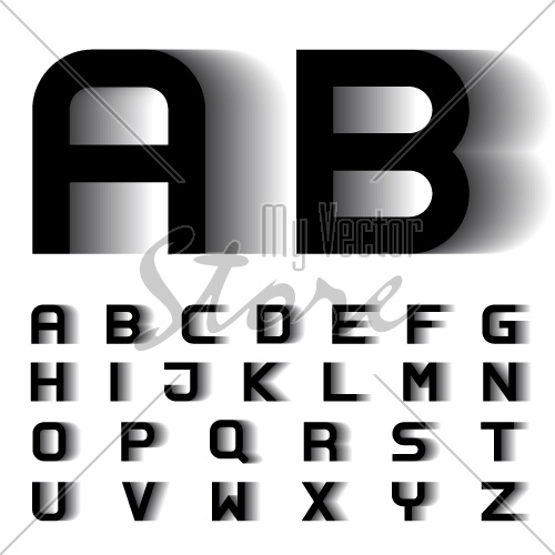 vector speed motion blur font alphabet letters