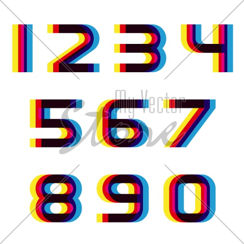 EPS10 vector distortion blur font numbers