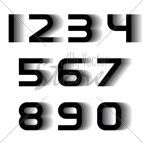 vector speed motion blur font numbers