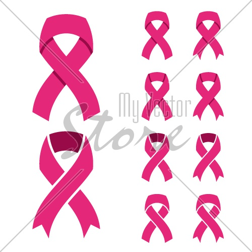 vector pink ribbon - breast cancer symbol