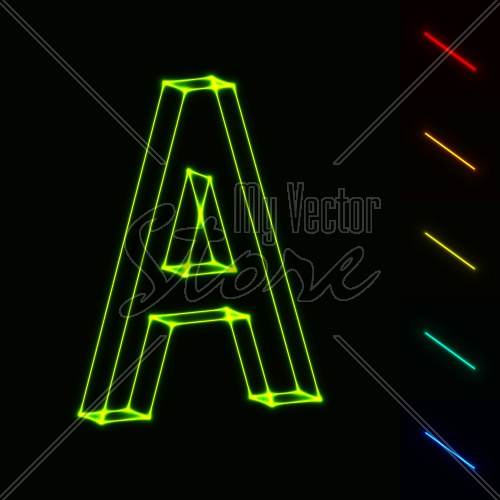 EPS10 vector glowing wireframe letter A - easy change color