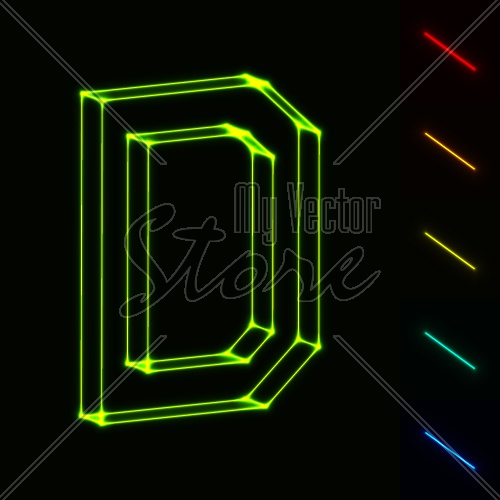 EPS10 vector glowing wireframe letter D - easy to change color