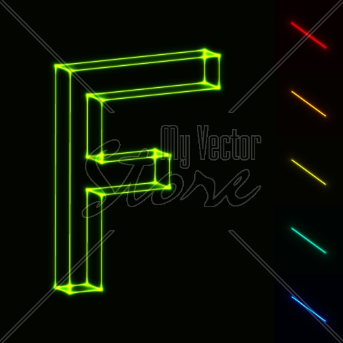 EPS10 vector glowing wireframe letter F - easy to change color