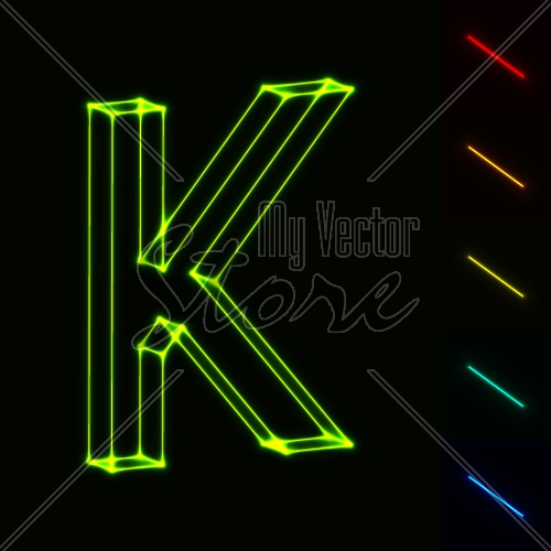 EPS10 vector glowing wireframe letter K - easy to change color