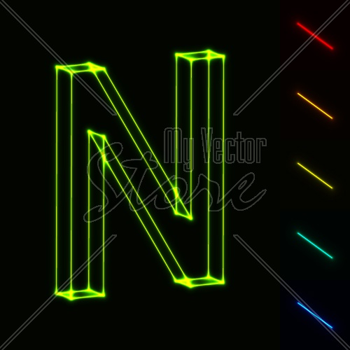 EPS10 vector glowing wireframe letter N - easy to change color